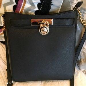 NWT Michael Kors Black Leather Hamilton Messenger